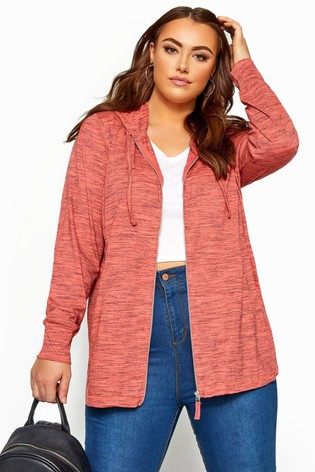 Yours Curve Coral Lightweight Zip Through Hoody