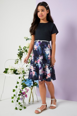 Lipsy Girl Short Sleeve Belted Floral Dress