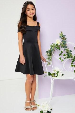Lipsy Girl Black Sweetheart Scuba Dress