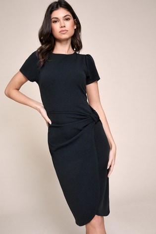 Lipsy Black Bow Detail Bodycon Midi Dress