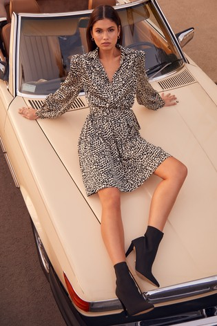 Lipsy Animal Print Shirt Dress