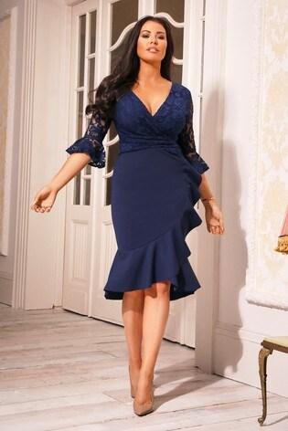 Sistaglam Loves Jessica Petite 3/4 Sleeves Frill Wrap Dress