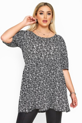 Yours Black Curve Ditsy Balloon Sleeve Peplum Top