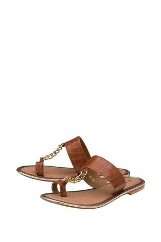 Ravel Brown Toe Loop Croc Embossed Leather Chain Trim Sandal