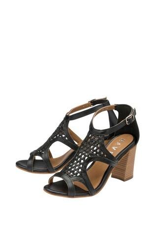 Ravel Black Leather Woven Block Heel Sandal
