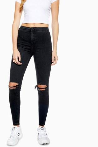 Topshop Petite Washed Rip Joni Jeans