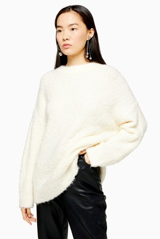 Topshop Knitted Boucle Longline Jumper