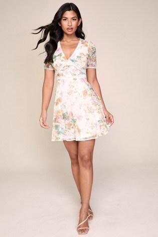Lipsy Printed Broderie Mini dress