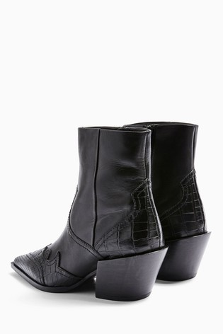Topshop Missouri Leather Western Boots