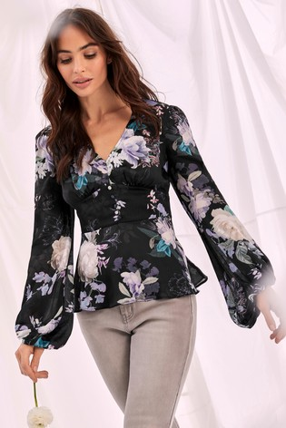 Lipsy Printed Button Front Blouse