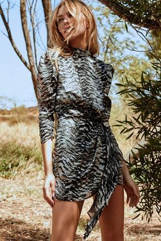 Abbey Clancy x Lipsy Monochrome Printed High Neck Drape Dress