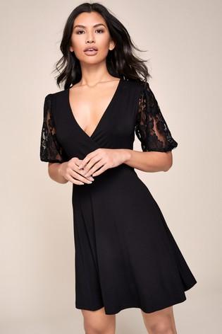 Lipsy Lace Puff Sleeve Wrap Mini Dress