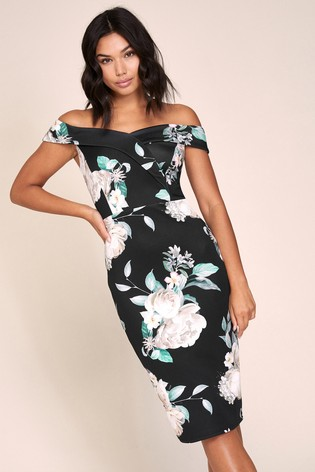 Lipsy Black Floral Scuba Bardot Midi Dress