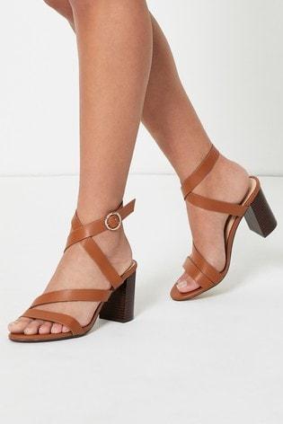 Office Brown Strappy Block Heel Sandal