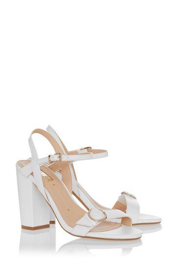 Office White Two-Part Branded Block Heel