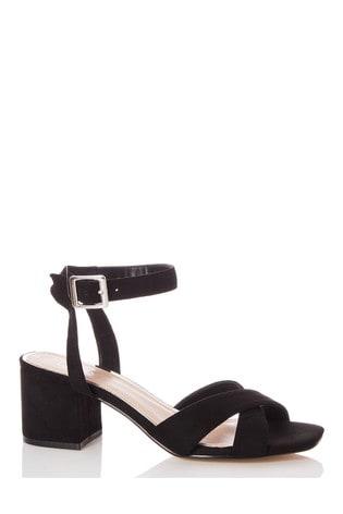 Quiz Black Faux Leather Cross Strap Square Toe Low Heel Sandals
