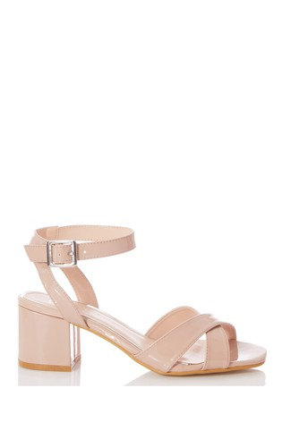 Quiz Nude Faux Leather Cross Strap Square Toe Low Heel Sandals