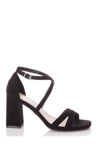 Quiz Black Faux Suede X Strap Square Toe Block Heel Sandal
