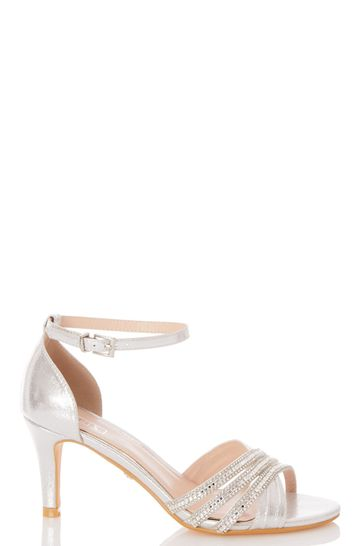 Quiz Silver Shimmer Triple Diamante X Vamp Low Heel Sandal