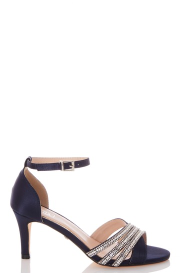 Quiz Navy Shimmer Triple Diamante X Vamp Low Heel Sandal