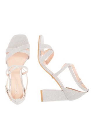 Quiz Silver Faux Suede X Strap Square Toe Block Heel Sandal