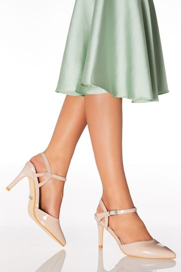 Quiz Nude Open Back Pointed Court Shoes