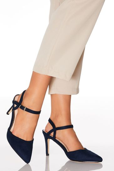 Quiz Navy Open Back Pointed Court Shoes
