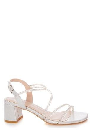 Quiz Silver Clear Diamante Strap Low Block Heel Sandals