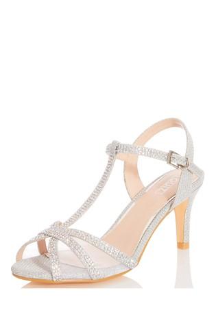 Quiz Silver Shimmer T-Bar Low Heel Sandal