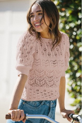 Lipsy Rose Cotton Pointelle Puff Sleeve Knitted Jumper
