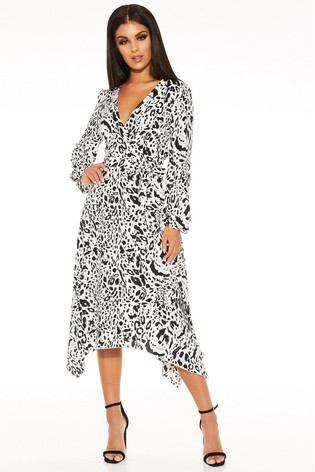 Quiz Satin Animal Print Midi Dress