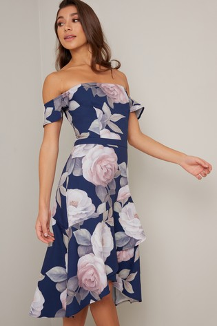 Chi Chi London Blue Floral Bardot Dress