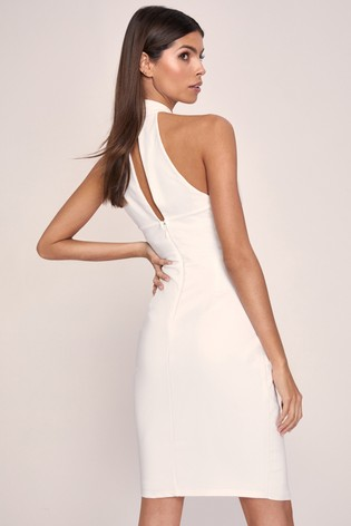 Lipsy White Twist Neck Bodycon Dress