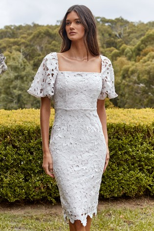 Lipsy White Lace Square Neck Puff Sleeve Dress