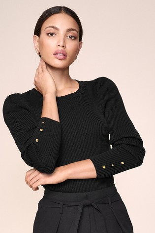 Lipsy Puff Sleeve Button Cuff Jumper