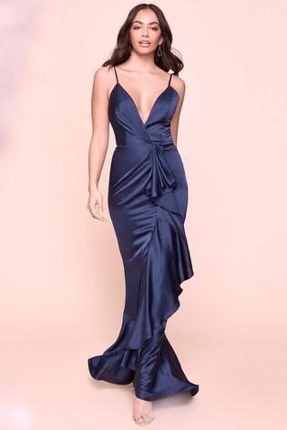 Jarlo Satin Extreme Frill Maxi Dress