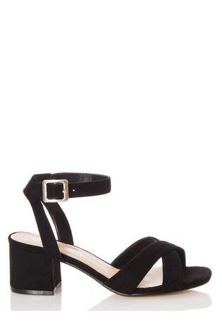 Quiz Black Wide Fit Leather X Strap Square Toe Low Heel Sandal