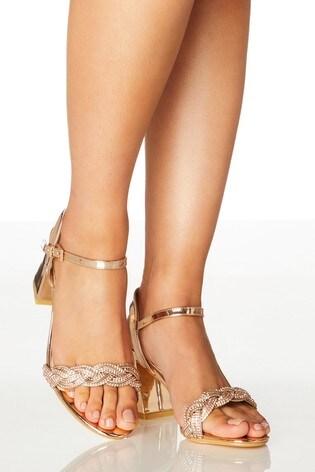 Quiz Gold Wide Fit Mirror Shimmer Mix Twist Diamanté Vamp Block Heel Sandal