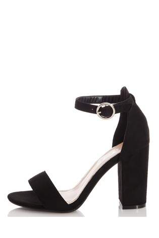 Quiz Black Wide Fit 2 Part Block Heel Sandal