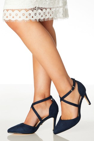 Quiz Navy Wide Fit Pointed Strap Courts