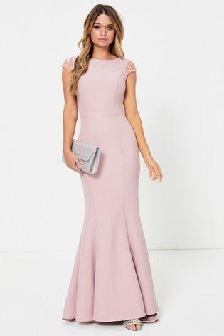 Jarlo Petite Lace Back Detail Fishtail Maxi Dress