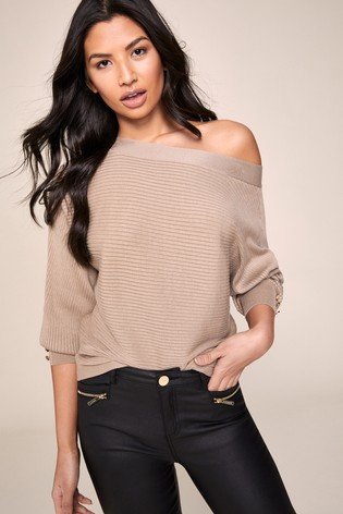 Lipsy Brown Button Sleeve Batwing Jumper