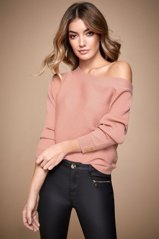 Lipsy Pale Button Sleeve Batwing Jumper