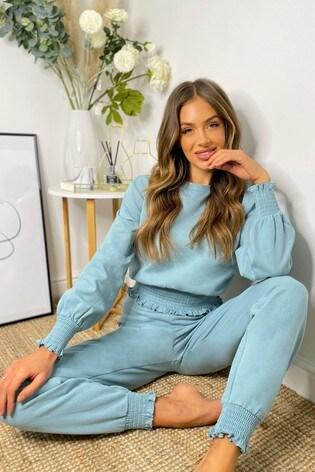 Lipsy Blue Shirred Waist Sweatshirt