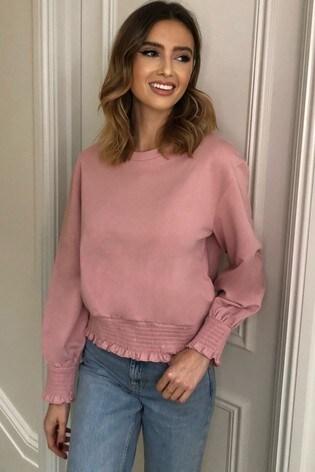 Lipsy Pink Shirred Waist Sweatshirt