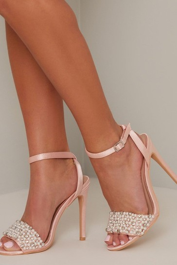 Chi Chi London Pink Jesy Pearl Detail Heels