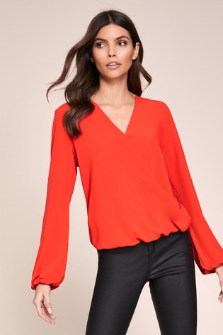 Lipsy Red Wrap Top
