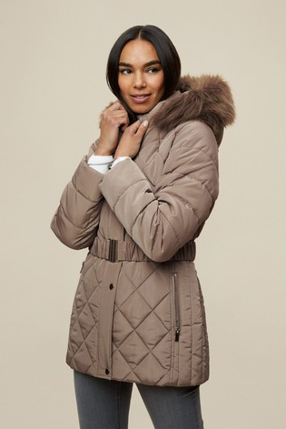 Dorothy Perkins Mushroom Diamond Quilt Short Luxe Padded Coat