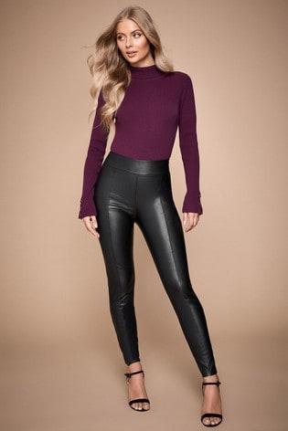 Lipsy Black Tall Seam Detail Leather Look Leggings