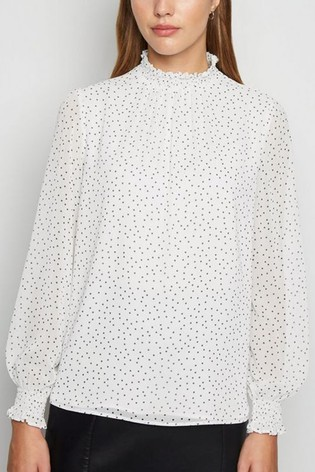 New Look Spot Shirred High Neck Blouse